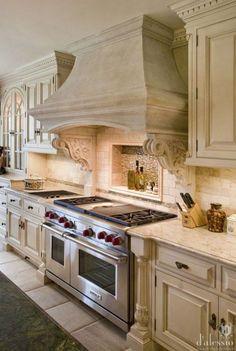 37 Stunning European Farmhouse Kitchen Cabinet Inspirations - Let's DIY Home European Kitchens, French Country Kitchens, Luxury Kitchens, Cool Kitchens, Kitchen Cabinet Inspiration, Kitchen Cabinet Design, Cabinet Ideas, Kitchen Armoire, Küchen Design