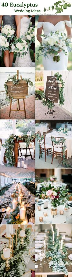 40 Greenery Eucalyptus Wedding Decor Ideas eucalyptus green wedding color ideas / www.deerpearlflow The post 40 Greenery Eucalyptus Wedding Decor Ideas appeared first on Outdoor Ideas. Wedding Centerpieces, Wedding Table, Wedding Bouquets, Rustic Wedding, Our Wedding, Wedding Decorations, Trendy Wedding, Wedding Reception, Fall Wedding