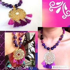 Collar girasol con Mandala grande y borlas Degrades de morados que enamoran  #piedrasnaturales ...