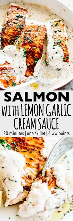 Pan Seared Salmon with Lemon Garlic Cream Sauce – Quick, delicious, bright and creamy salmon dinner prepared in just one skillet and served with an incredible lemon garlic cream sauce! All you need is about 20 minutes and a handful of ingredients. #salmon #30minutemeal #seafood #fish #cream #lemon #dinnerrecipes #easydinner #quick #lowcarb
