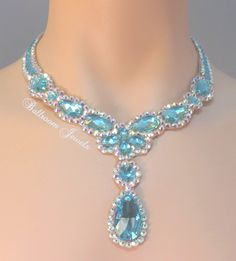 Ballroom Necklace Swarovski Pears and drop in colors