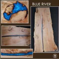 Blue River Live Edge Slab Table Top-wood and resin Weird Furniture, Live Edge Furniture, Log Furniture, Live Edge Wood, Live Edge Table, Glow Table, Epoxy, Homemade Art, Got Wood
