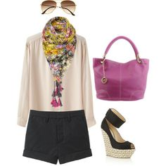 Love this whole outfit. Floral scarf, wedge heels etc.