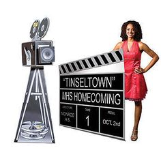 Use these giant decorations as accents to your Hollywood theme. The movie camera is corrugated and makes a great prop. The Clapboard comes with letters for personalization.