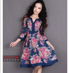 [DEMONSTYLE] Outono nova chegada do vestido das mulheres, vestido estampado de senhora 79.00