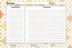 Free Recipe Card Templates For Word Impressive Free Spring Time Recipe Card Printable For You  Pinterest  Recipe .