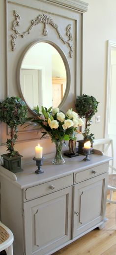 La Vie en Rose French Grey mirror and dresser