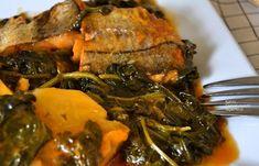 Παστός μπακαλιάρος με σπανάκι, πατάτες και αρωματικά χόρτα - cretangastronomy.gr Pork, Meat, Kale Stir Fry, Pigs