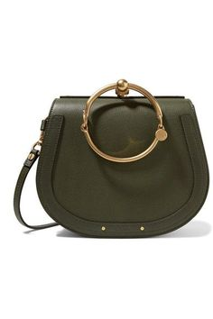 Chloé's 'Nile' bag is loved for its signature saddle shape and equestrian detailing. It's crafted from army-green textured-leather and lined in supple suede - the interior is perfectly sized to fit just the essentials.