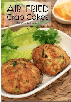 """If you are looking for a healthy recipe for crab cakes, this is the one. This crab cakes taste so good that you will not be able to tell that they were pan """"fried"""" in the air fryer.When eating crab cakes I love big chunks of crab Air Fryer Oven Recipes, Air Frier Recipes, Air Fryer Dinner Recipes, Air Fryer Recipes Shrimp, Air Fryer Cake Recipes, Crab Cake Recipes, Seafood Recipes, Cooking Recipes, Healthy Recipes"""