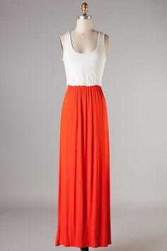 Orange and white maxi dress