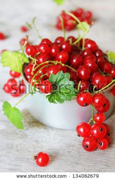 Red currant berries with green leaves in a cup on a wooden surface by Anna Kurzaeva, via ShutterStock