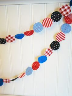 Fabric Garland - Red, White, and Blue patriotic nautical circle garland 6 feet. $12.00, via Etsy.