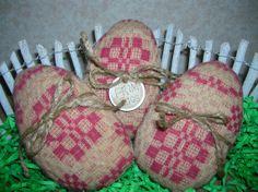 Primitive Vintage Woven Coverlet Easter Egg by auntiemeowsprims, $9.99