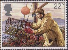 Fishing 22p Stamp (1981) Lobster Potting