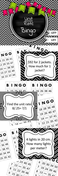 1 Bingo Game for lots of students!  50 unit rate problems for whole class bingo! Best for 6th grade 6.RP however can also be used as a review in 7th grade 7.RP