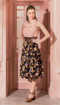 Midi Skirt Well Wants Me Marine - nuevos - Saias Casual Chic, Skirt Fashion, Fashion Dresses, Looks Vintage, Skirt Outfits, Frocks, My Outfit, Midi Skirt, Summer Outfits
