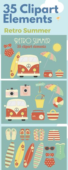 35 Summer clipart elements to use in your creative projects from the Retro Summer collection #clipart #clipartelements #affiliate