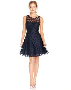Betsey Johnson Sleeveless Illusion Polka-Dot Dress on shopstyle.com