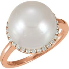 650849 / 14kt Rose / Ring / Complete with Stone / 07.00 / I1 / Round / 12.00 MM / PEARL / Polished / SOUTH SEA CULTURED PEARL AND 1/3CTW DIAMOND RING