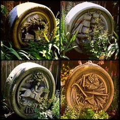 These medallions are from the old Fall River Post Office Building carved by Thomas Richard Kessel in 1880. They`re shown in the gardens of the Fall River Historical society.