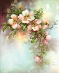 Pink Wild Roses China Painting Study by Sonie Ames 1967 Floral Vintage, Vintage Flowers, Vintage Prints, Arte Floral, Decoupage Vintage, Vintage Paper, Fabric Painting, Diy Painting, Watercolor Flowers