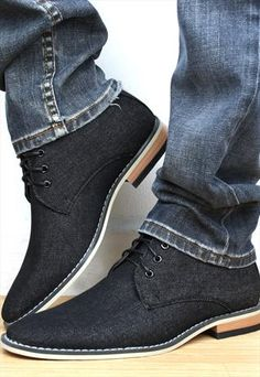 Men's Desert Boots Black Jean Lace ups.