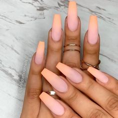 Matte Peach Ombre Nails mattenails peachnails Ombre nails are versatile and fun so even a novice can pull off an ombre look In case you do not seek easy ways we have something for you too naildesignsjournal nails nailart naildesigns ombrenails # Cute Acrylic Nails, Matte Nails, Stiletto Nails, Gel Nails, Nail Polish, Coffin Ombre Nails, Acrylic Nails For Fall, Peach Acrylic Nails, Black Ombre Nails