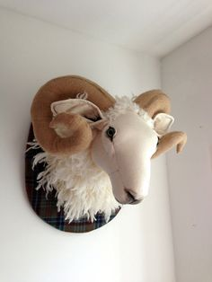 Large fabric ram head. Sheep trophy, vegetarian taxidermy. Tartan, hessian and merino/alpaca wool. OOAK feature wall sculpture.