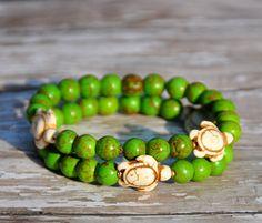 NEW Summer Sea Turtle Bracelets / Set of 2 / Stretch Bracelets / Handmade Beaded Bracelets via Etsy