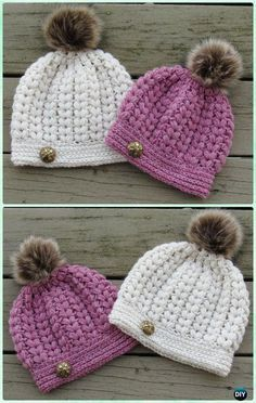 Crochet Puff Stitch Hat Pattern