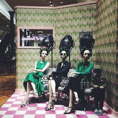 """DOLCE&GABBANA, Milan, Italy, """"Three women with rollers under hair dryers getting hair styled in beauty salon on Corso Venezia"""", pinned by Ton van der Veer"""