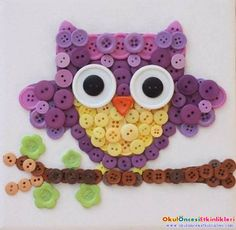 Repeat Crafter Me: Owl Button Art Kids Crafts, Owl Crafts, Cute Crafts, Crafts To Make, Craft Projects, Arts And Crafts, Craft Ideas, Easy Crafts, Button Art Projects