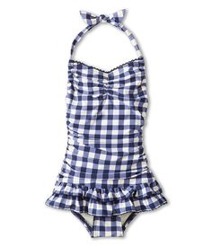 60261a104e5 Juicy Couture Kids Gingham Style Shirred Halter Swimdress (Toddler/Little  Kids/Big Kids
