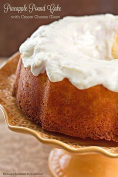If you're a fan of pound cake this pineapple pound cake will knock your socks off Here in the South, we consider recipes for pound cakes family treasures meant to be celebrated. I developed this moist (Pound Cake) Cream Cheese Glaze, Cream Cheese Pound Cake, Köstliche Desserts, Delicious Desserts, Dessert Recipes, Plated Desserts, Pineapple Pound Cake, Pineapple Bundt Cake Recipe From Scratch, Pineapple Glaze