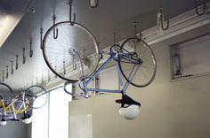 Keirin track bike ceiling storage hooks.