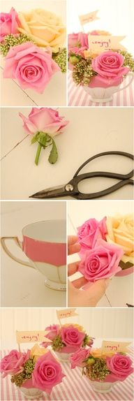 Tea Cup Flower Arrangements: DIY ...need to come up with an idea like this