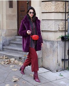 Winter Coat Outfits, Warm Outfits, Winter Fashion Outfits, Trendy Outfits, Autumn Fashion, Purple Outfits, Painted Clothes, Winter Trends, Winter Wear