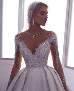 71 illusion long sleeve wedding dresses you'll like 8 Wedding Gowns With Sleeves, Long Wedding Dresses, Bridal Dresses, Dresses With Sleeves, Gown Wedding, Modest Wedding, Wedding Bride, Dresses Dresses, 1920 Dresses