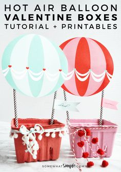 Want to make Valentine Boxes this year that are insanely darling, but super easy and quick to put together? Then you have to check out this adorable Hot Air Balloon Valentine Box idea!