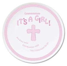 Personal Touch Gifts - Cross Its a Girl Plate, £14.99 (http://personaltouchgifts.co.uk/cross-its-a-girl-plate/)