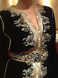 black velvet caftan with gold maalem trim and embroidery