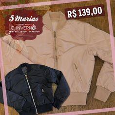 Quentinhas e super confortáveis! Disponível nas cores preto e rosa, por apenas R$ 139,00 na 5 Marias. Aproveite! #5Marias #jaqueta #OutonoInverno