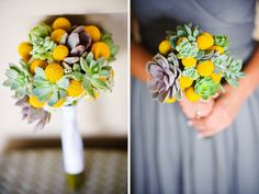 succulent & craspedia bouquets  Photography by Mike & Ann | Visual Storytellers @Ann Buoy