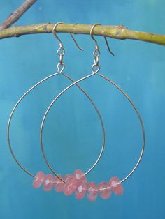 HEART ROCK- Large Cherry Quartz Teardrop Hoop - $95