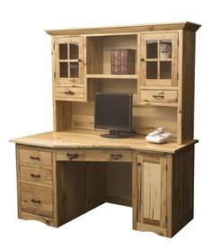 Our Amish handcrafted Wedge computer desk is rustic at its finest! Crafted of rustic hickory, the wood is the star of the show. The unique angle design allows for a little more desk top area, as well as, deeper file and storage drawers.   eBay!