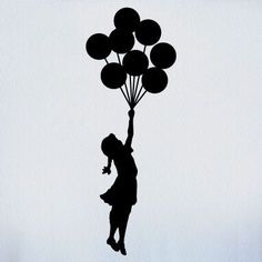 Watercolor girl on swing silhouette girl with balloon silhouette