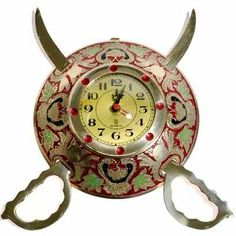 Rajasthani Real Brass Sword Armour Wall Clock-107#Rajasthani Real Brass Sword Armour Wall Clock