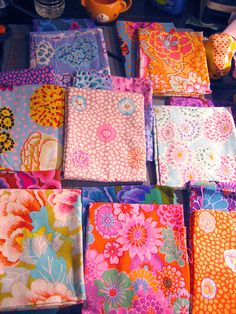 Love the combinations for possible nursery fabric. Kaffe Fassett fabrics paired up