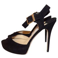 d65ab5e06264a Sandales à plateforme en cuir noir JIMMY CHOO Cuir Noir, Bottes, Sandales,  Plateforme. eBay